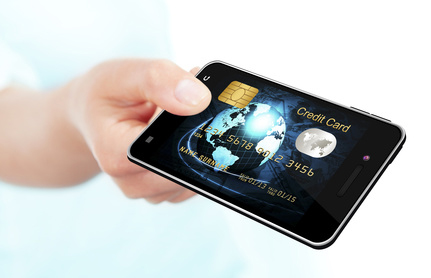 hand holding mobile phone with credit card screen isolated over white background